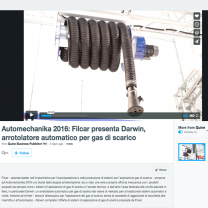 Automechanika 2016: Filcar presents Darwin, automatic hosereel for exhaust gas